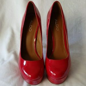 ALDO Red Leather Platform Pumps